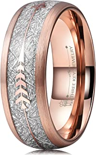 Mens Arrow Tungsten Meteorite Rings Unisex 6mm 8mm Viking Bands for Women Rose Gold Silver