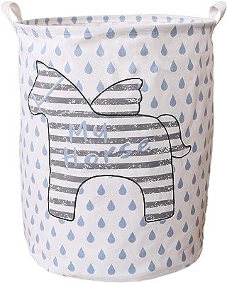 Cestas de lavandería Seafowl de 50 cm, plegable, impermeable, resistente, de lona para la colada, cestas de almacenamiento de ropa para niños, cestas de guardería, organizador con asas. (Caballo)