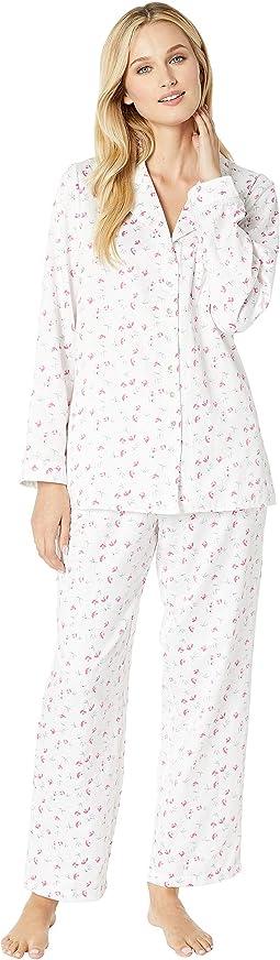 Brushed Back Satin Notch Collar Pajama Set