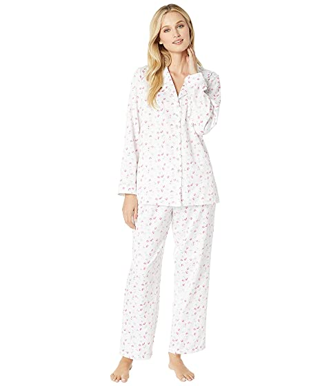 Eileen West Brushed Back Satin Notch Collar Pajama Set, WHITE ROSEBUD