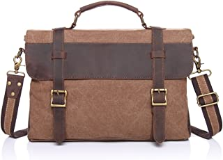 SGJFZD Men's Messenger Bag Retro Leather Shoulder Portable Briefcase Canvas Bag with The First Layer of Crazy Horse (Color : Brown, Size : M)