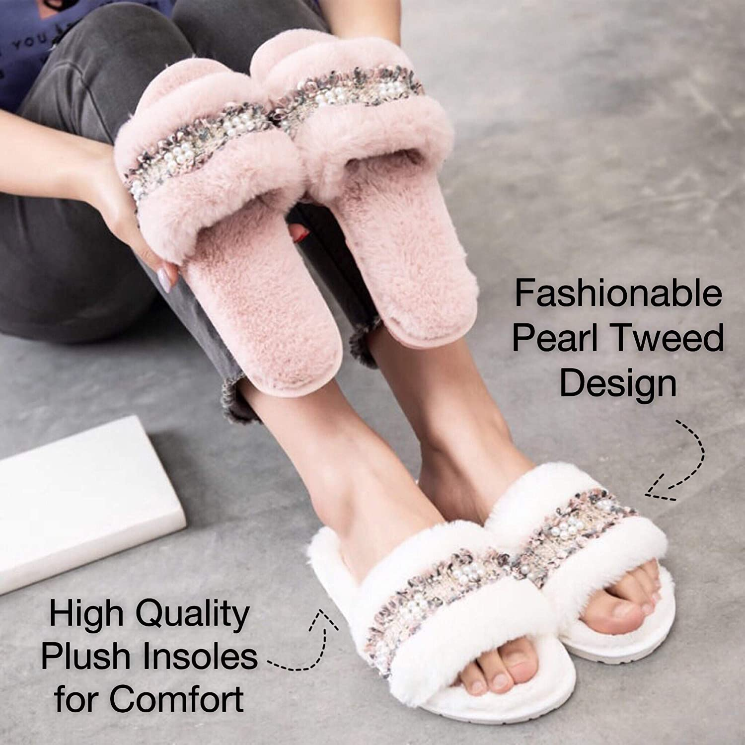 Serene Lunar Women's Plush|Fluffy | Fuzzy Slippers| with Pearl Tweed Design