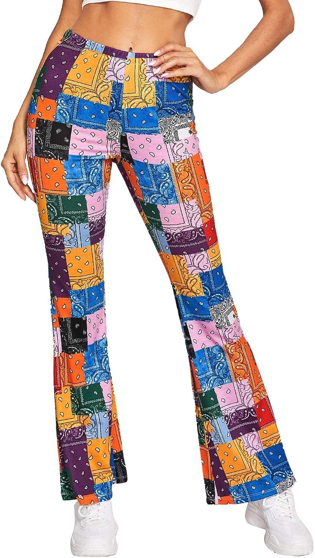WDIRARA Women's Elastic High Waist Split Hem Flare Leg Elegant Long Pants