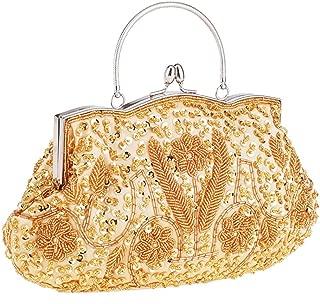 Sturdy Handbag Chain Shoulder Diagonal Clutches Handbag Women's Handmade Beaded Evening Handbag Wild Party Dress Bride Bridesmaid Handbag Large Capacity (Color : Gold)