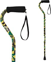 Pivit Offset Handle Fashion Cane | Camouflage | Soft Foam Handle & Wrist Strap | Polished Scratch-Resistant Anodized Aluminum | Lightweight Walking Stick Great Hiking Travel Companion for Men & Women