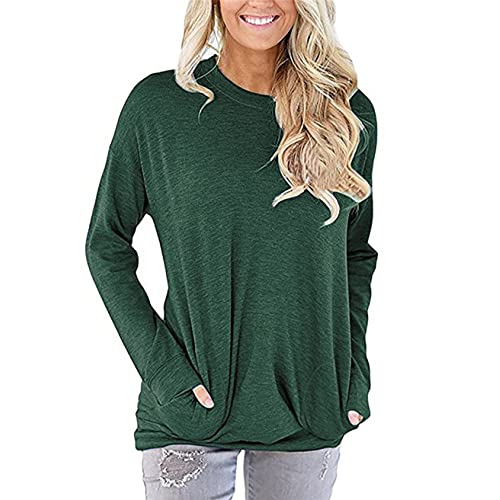3f5653a1dba UXELY Women's Casual Comfy Long Sleeve Pullover Tunic Tops Round Neck  Sweatshirt Loose Soft with Pockets