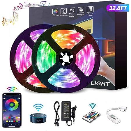 YOMYM Tira LED, Tira de luz controlada por teléfono Inteligente, Trabaja con Sistema Android y iOS, Alexa, Asistente de Google, 32.8ft/10M