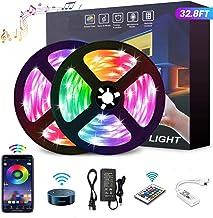 YOMYM Tira LED, Tira de luz controlada por teléfono Inteligente, Trabaja con Sistema Android y iOS, Alexa, Asistente de Go...