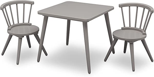 Delta Children Windsor Kids Wood Chair Set And Table 2 Chairs Included Grey