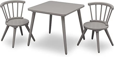 Delta Children Windsor Kids Wood Chair Set and Table (2 Chairs Included), Grey