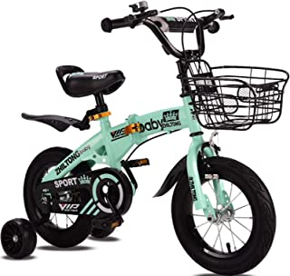 Green Aluminium Collapsible Childrens Bicycle Boys and Girls Kids Bike with Flash Training Wheel, Stabilisers Brakes and B...