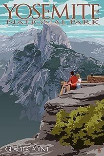 Yosemite National Park, California - Glacier Point and Half Dome (9x12 Art Print, Wall Decor Travel Poster)
