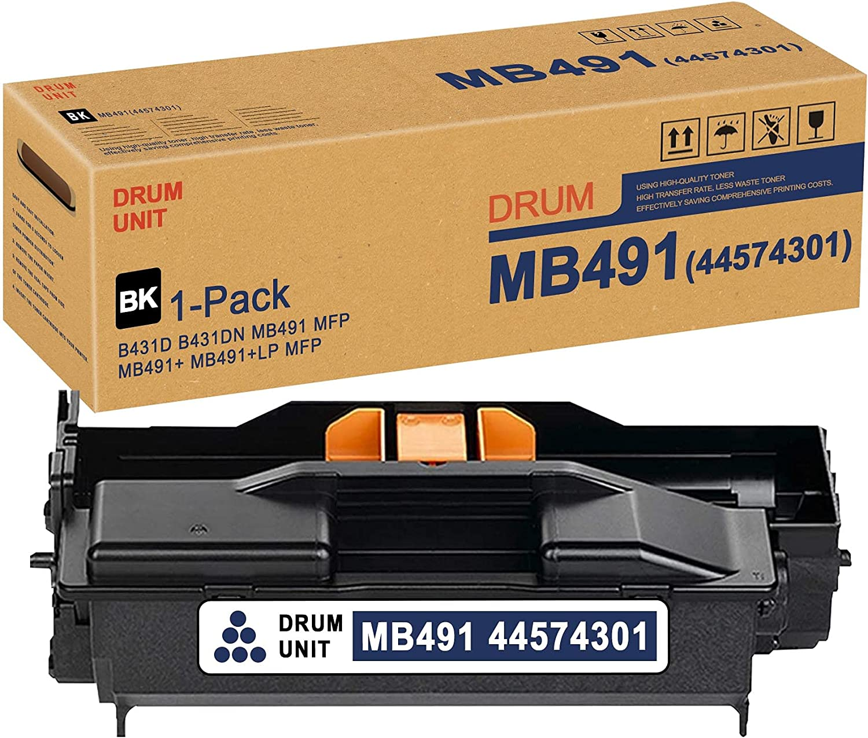 MB491 44574301 Drum Unit (Black,1 Pack) Replacement for OKI B431D B431DN MB491 MFP MB491+ MB491+LP MFP Drum Kit Printer
