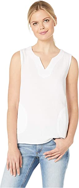 Crinkle Gauze Sleeveless Blouse with Pockets