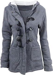 9ce5fcba2c7f3 FOUNDO Women s Hooded Winter Wool Blended Classic Pea Coat Zip Up Jacket  Outwear
