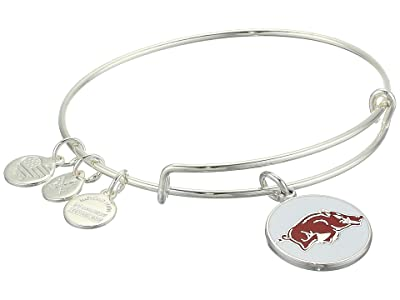 Alex and Ani Color Infusion, University of Arkansas Charm Bangle (Shiny Silver) Bracelet