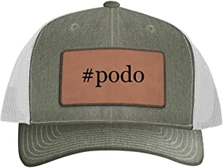 One Legging it Around #Podo - Hashtag Leather Dark Brown Patch Engraved Trucker Hat