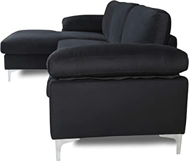Knowlife L Shaped Sectional Sofa Modern Velvet with Chaise and Metal Legs Small Couch for Living Room, Black