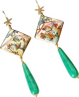 Orecchini Siciliani con mattonelle in ceramica dipinte
