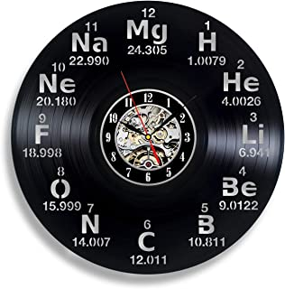 Chemistry Science Periodic Table Circle Vinyl Wall Clock Art Home Decor Interior Design Childrens Room Living Bedroom Nursery Decoration - Gift for kids him her mother father boyfriend girlfriend
