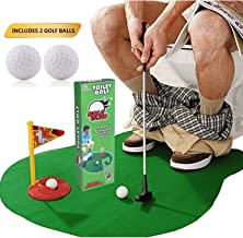 SAFAK Potty Putter Toilet Mini Funny Golf Set - Cool Gag Gadgets Unique Practice Toy Game Gifts Idea on 2019 for Adults, Kids, Valentines, Best Fathers and Friend