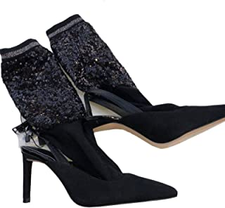8f055ea6bb59 Zara FW17 Sequinned Sock-Style Slingback Court Shoes Black US6.5