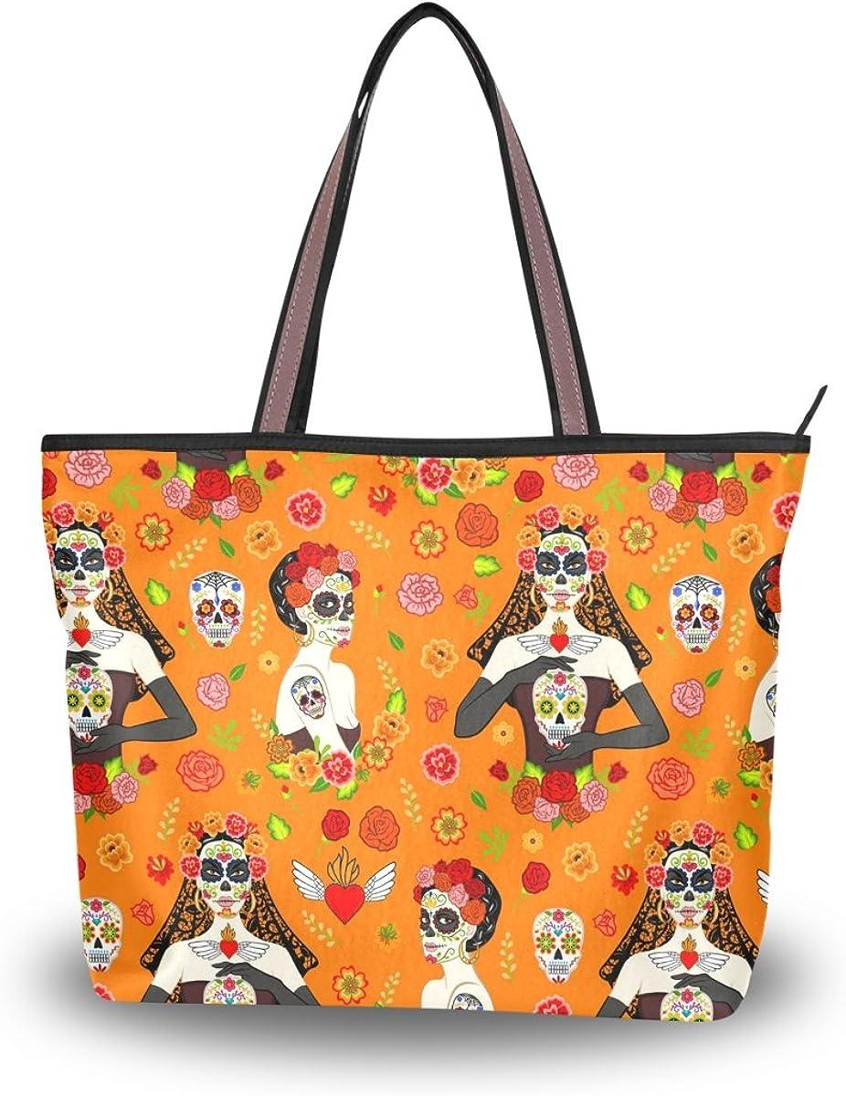 JSTEL Women Large Tote Top Handle Shoulder Bags Exican Beautiful Women Patern Ladies Handbag
