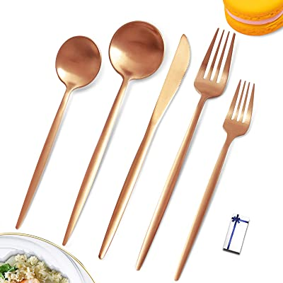 Matte Rose Gold Silverware Set Cutlery Set Stainless Steel Utensils Set Rose Gold Flatware Set Service For 4,Tableware Spoons and Forks Silverware for Home Restaurant and Wedding Wrapped Gift Box