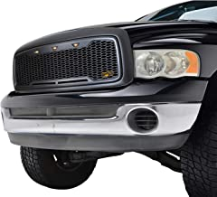 EAG Replacement ABS Upper Grille LED Front Grill - Charcoal Gray - with Amber LED Lights Fit for 02-05 Dodge Ram 1500/2500/3500