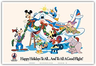 Mickey Mouse and Disney Characters - Happy Holidays to All - Delta Air Lines (Official Airline of Disney World) - Vintage Airline Travel Poster c.1960s - Master Art Print - 13in x 19in