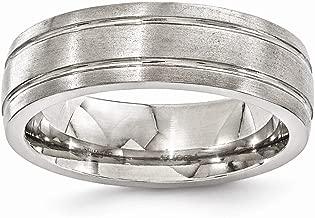 ICE CARATS Edward Mirell Titanium Brushed Grooved 7mm Wedding Ring Band Man Fashion Jewelry Dad Mens Gift Set