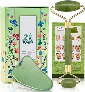 Jade Roller and Gua Sha Tool Set, Natural Real Jade Roller for Face, Beauty Jade Facial Roller Massage Tool for Rejuvenate Skin, Anti-wrinkle, Anti Aging, No Squeaks, Green