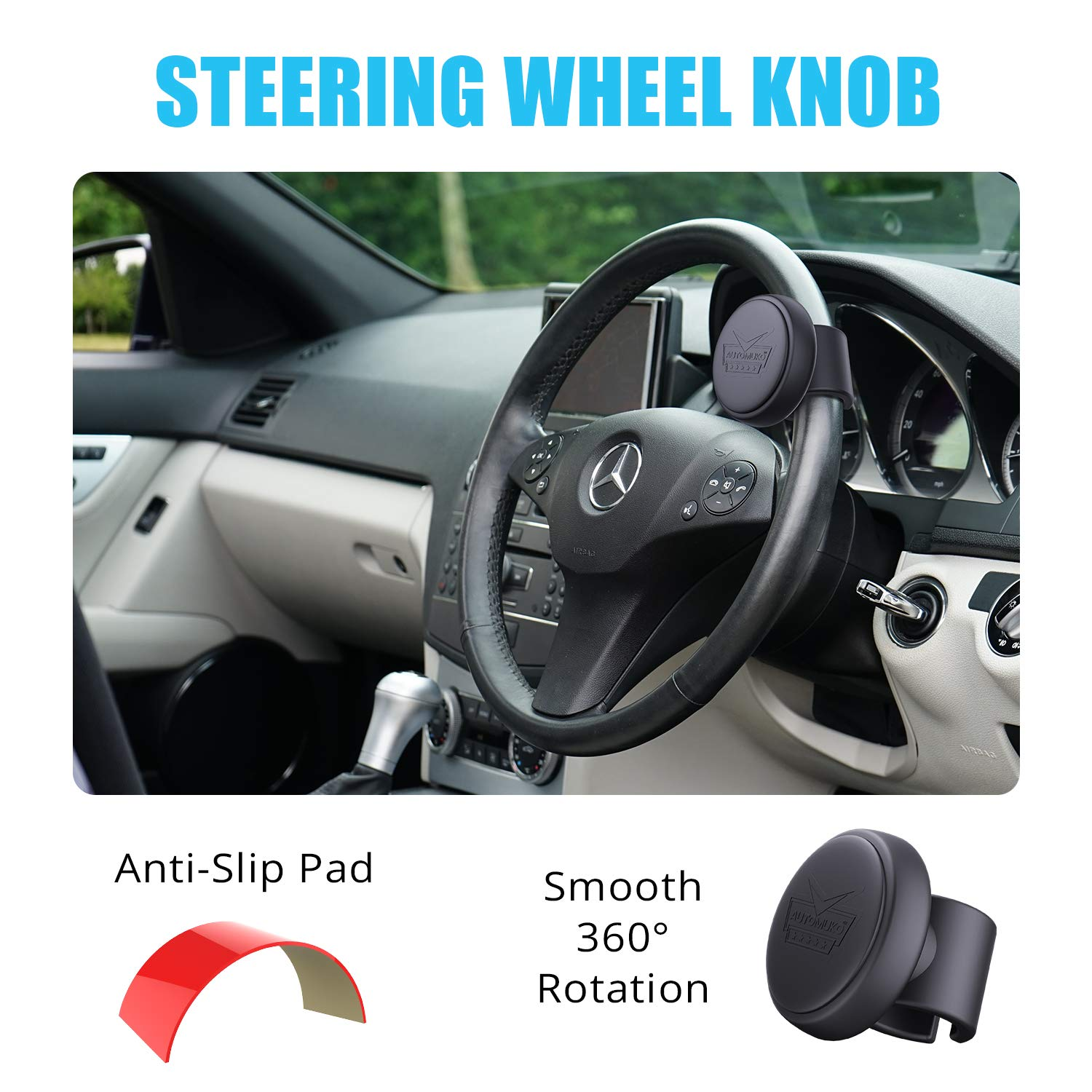 Smaw Power Handle Car Steering Wheel Suicide Spinner Accessory Knob for Car Vehicle Single Hand Driving Auxiliary Control Grip Ball