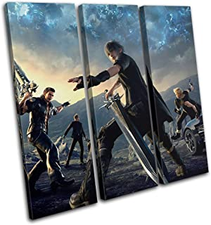 Bold Bloc Design - Final Fantasy XV Xbox ONE PS4 PC Gaming 60x60cm Treble Canvas Art Print Box Framed Picture Wall Hanging - Hand Made in The UK - Framed and Ready to Hang