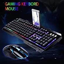 EEEKit Wired Keyboard Mouse Combo,Rainbow LED Backlight Gaming Keyboard and 2400 DPI 6 Buttons Optical Mouse Set for PC Laptop - Black