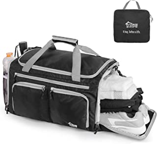 Foldable Lightweight Gym Duffle Bag 40L with Yookeehome waterproof Wet Stuff Compartment Water Bottle Pockets Breathable Shoe Compartment (Black)