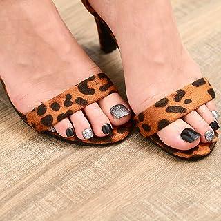 Fairvir - Juego de 24 uñas postizas para dedos de los pies de acrílico de Fairvir con lentejuelas, color negro