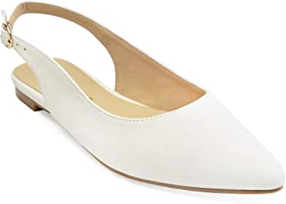 ComeShun Womens Shoes Closed Pointed Toe Flats Slingback Dress Pumps White Size: 8