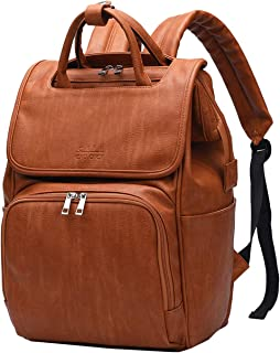 Citi Babies Tan Faux Leather Diaper Bag Backpack - Vegan Leather Diaper Bag with Shoulder Strap, Large Capacity, Insulated Bottle Pockets, Changing Pad, Stroller Clip- Versatile Diaper Bag for Baby