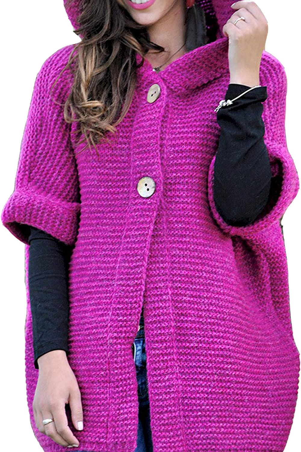 Aishang Women Open Front Cardigan Sweaters Thick Coat Short Sleeve Shrugs Hooded Cape