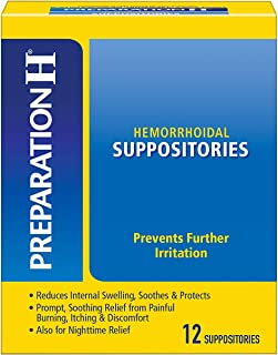 Preparation H Hemorrhoid Symptom Treatment Suppositories, Burning, Itching & Discomfort Relief, 12 Count (package may vary)