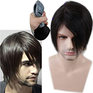 Rossy&Nancy Invisible Thin Skin Men's Toupee Hairpieces Lace Hair Replacement System Natural Black Color Human Hair Man Wig