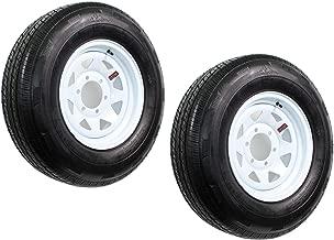 2-Pack Radial Trailer Tire On Rim ST205/75R15 Load Range D 6-5.5 White Spoke