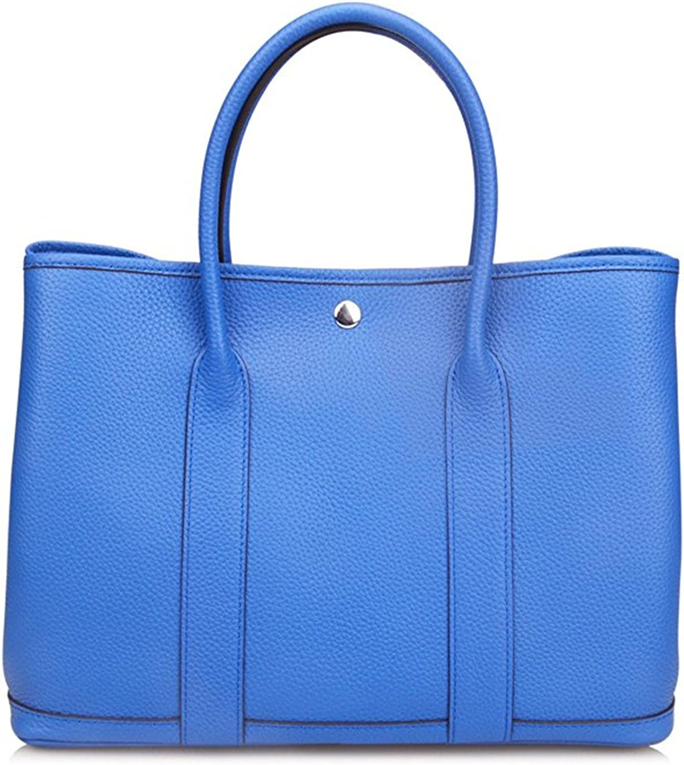 Genuine Leather Tote Bag Top Handle Handbags Light Electric bluee