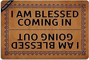 I Am Blessed Coming in and Going Out Doormat Entrance Floor Mat Funny Doormat Door Mat Decorative Indoor Outdoor Doormat Non-Woven 23.6 by 15.7 Inch Machine Washable Fabric Top