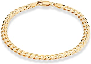 18K Gold Over 925 Sterling Silver Italian 5mm Solid Diamond-Cut Cuban Link Curb Chain Bracelet for Men Women, 6.5, 7, 8, 9 Inch