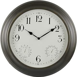 "BACKYARD EXPRESSIONS PATIO · HOME · GARDEN 914934 18"" Metal Indoor/Outdoor Weather Monitoring Clock, Rustic Brown"