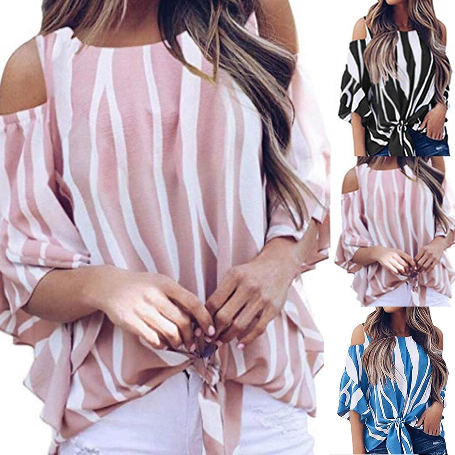 Eduavar Women Blouses and Tops, Womens Summer Striped Off The Shoulder Tops 3/4 Bell Sleeve Blouses Tie Knot T-Shirt