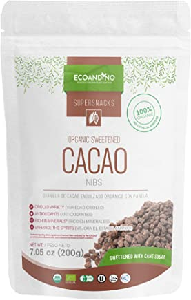 Ecoandino Organic Sweetened Cacao Nibs 7.05 oz (200 grams) Resealable Doypack bag (Pack