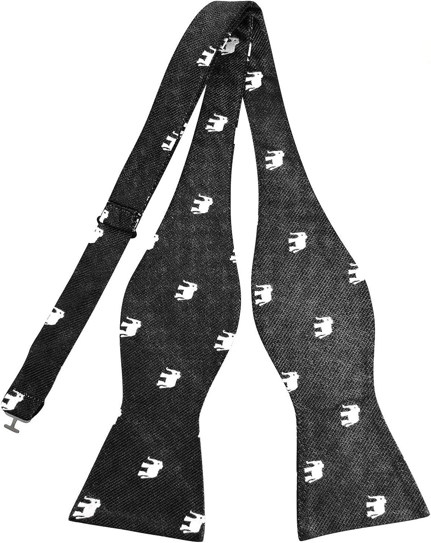PenSee 100% Silk Jacquard Woven Bowtie Elephants Pattern Self Tie Bow Tie